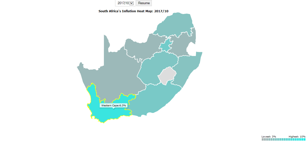Map Of South Africa Showing 9 Provinces.Inflation Heat Map South African Market Insights